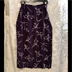 Hillard & Hanson Wine White Maxi Skirt Size S